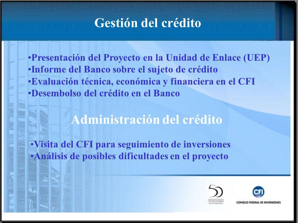 Presentación del Proyecto en la Unidad de Enlace (UEP) Informe del Banco sobre el sujeto de crédito Evaluación técnica, económica y financiera en el CFI Desembolso del crédito en el Banco Visita del CFI para seguimiento de inversiones Análisis de posibles dificultades en el proyecto Gestión del crédito Administración del crédito