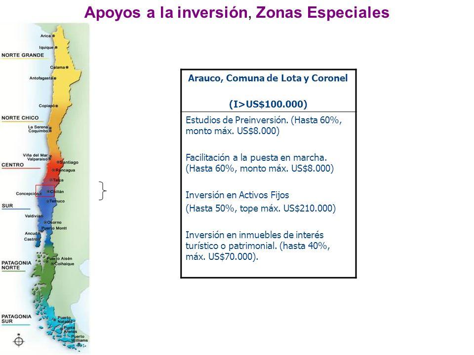 Apoyos a la inversión, Zonas Especiales Arauco, Comuna de Lota y Coronel (I>US$100.000) Estudios de Preinversión.