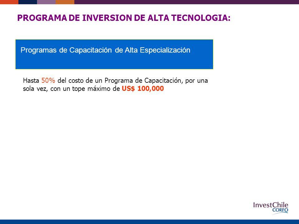 PROGRAMA DE INVERSION DE ALTA TECNOLOGIA: Hasta 50% del costo de un Programa de Capacitación, por una sola vez, con un tope máximo de US$ 100,000 Programas de Capacitación de Alta Especialización