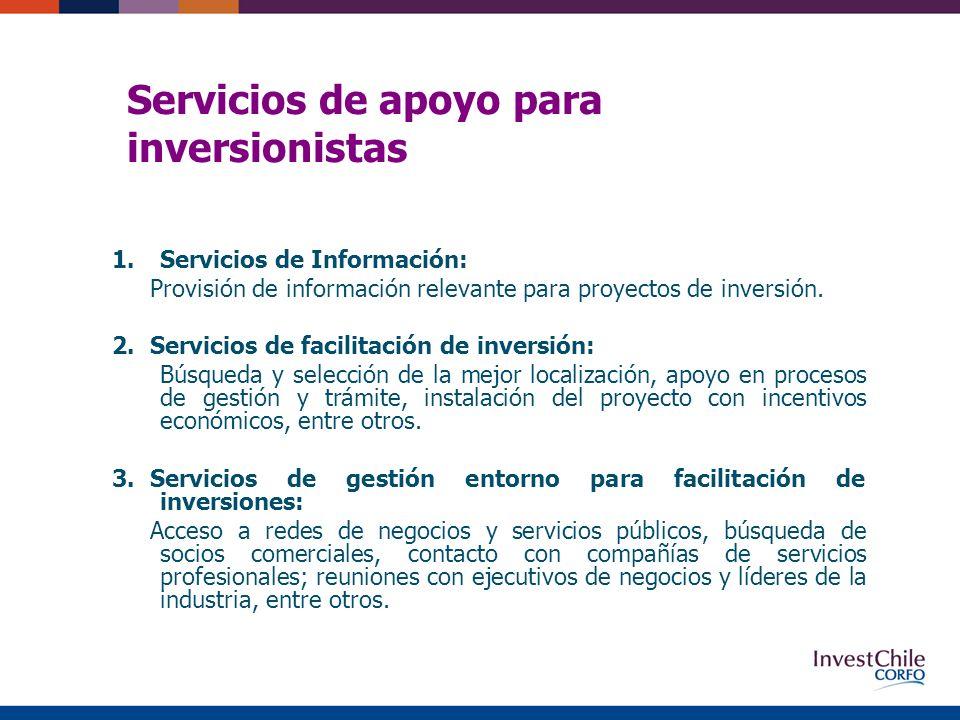 Servicios de apoyo para inversionistas 1.Servicios de Información: Provisión de información relevante para proyectos de inversión.