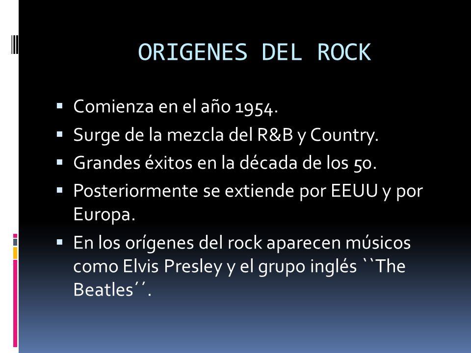 INDICE 1-Orígenes del rock 2-Subgéneros principales 3-Cronología y evolución 4-Características 5-Instrumentación 6-Función de cada instrumento 7-Letra