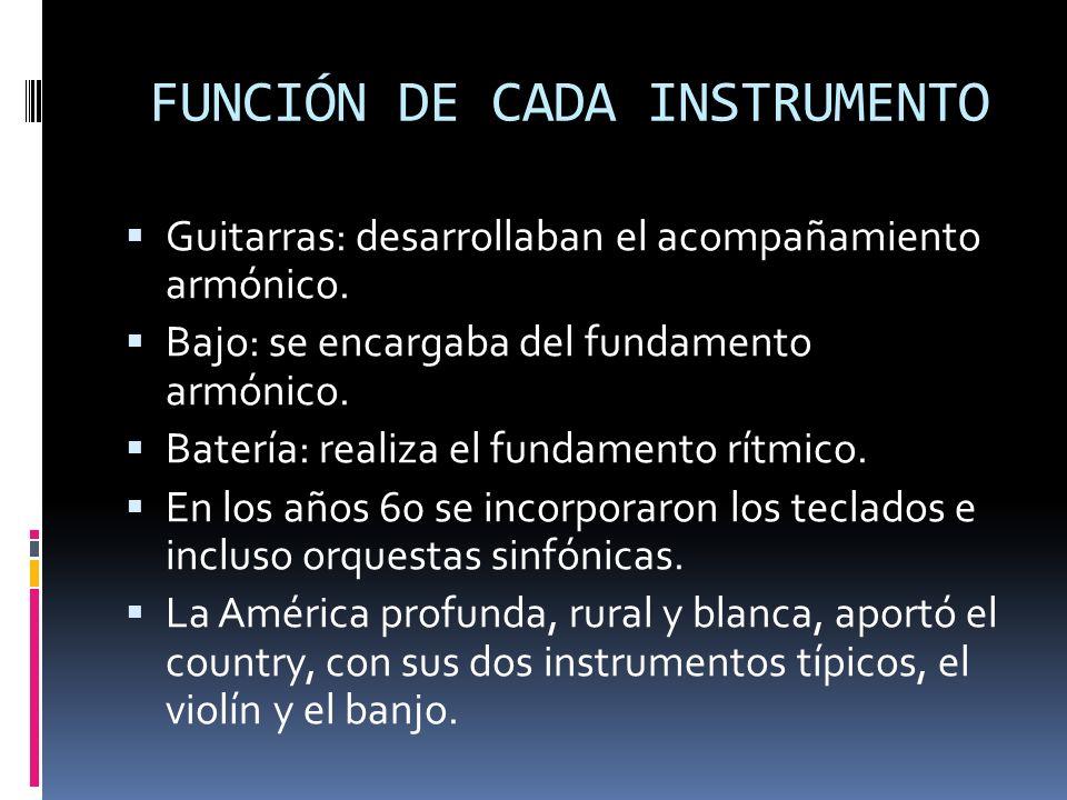 FUNCIÓN DE CADA INSTRUMENTO Guitarras: desarrollaban el acompañamiento armónico.