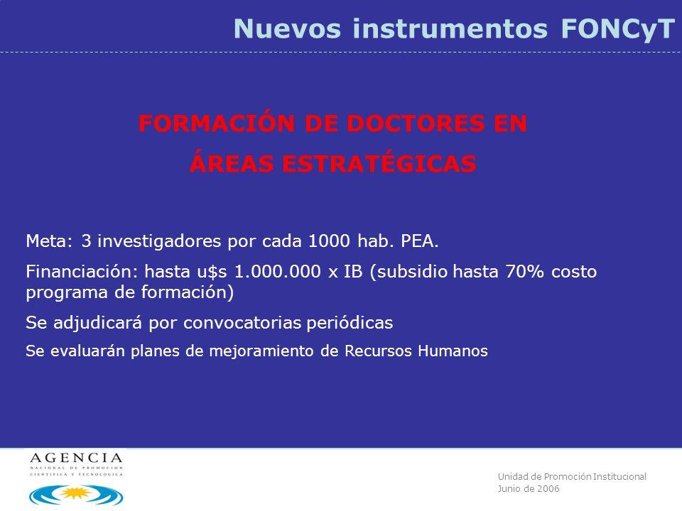 Unidad de Promoción Institucional Junio de 2006 Nuevos instrumentos FONCyT FORMACIÓN DE DOCTORES EN ÁREAS ESTRATÉGICAS Meta: 3 investigadores por cada 1000 hab.