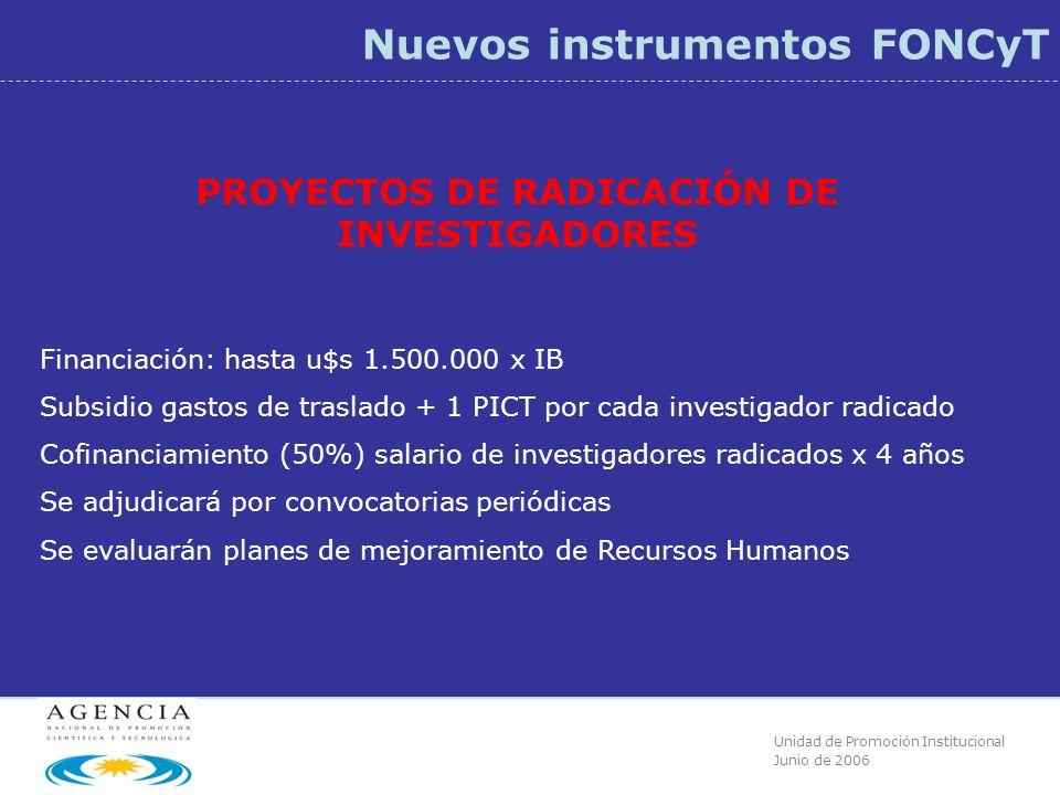 Unidad de Promoción Institucional Junio de 2006 Nuevos instrumentos FONCyT PROYECTOS DE RADICACIÓN DE INVESTIGADORES Financiación: hasta u$s 1.500.000 x IB Subsidio gastos de traslado + 1 PICT por cada investigador radicado Cofinanciamiento (50%) salario de investigadores radicados x 4 años Se adjudicará por convocatorias periódicas Se evaluarán planes de mejoramiento de Recursos Humanos