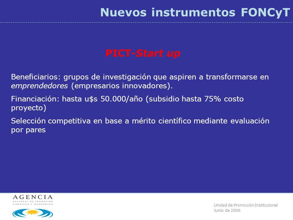 Unidad de Promoción Institucional Junio de 2006 Nuevos instrumentos FONCyT PICT-Start up Beneficiarios: grupos de investigación que aspiren a transformarse en emprendedores (empresarios innovadores).