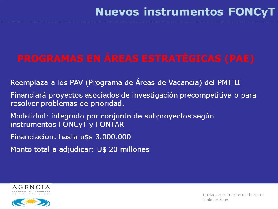 Unidad de Promoción Institucional Junio de 2006 Nuevos instrumentos FONCyT PROGRAMAS EN ÁREAS ESTRATÉGICAS (PAE) Reemplaza a los PAV (Programa de Áreas de Vacancia) del PMT II Financiará proyectos asociados de investigación precompetitiva o para resolver problemas de prioridad.