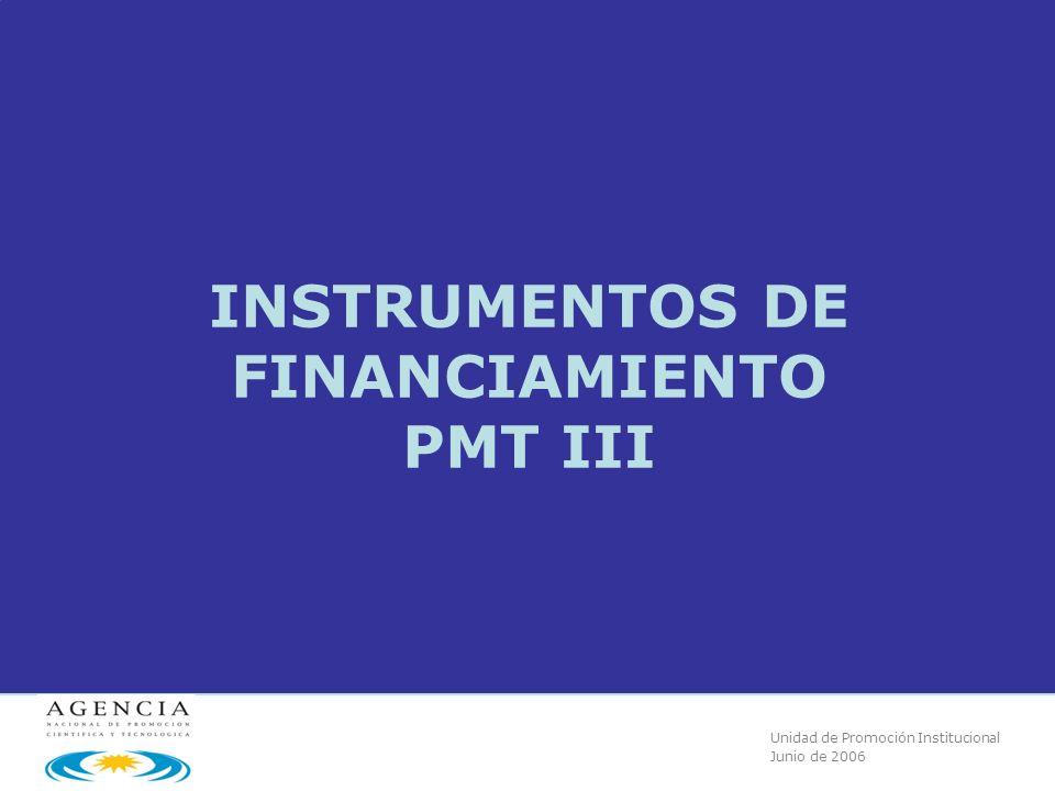 Unidad de Promoción Institucional Junio de 2006 INSTRUMENTOS DE FINANCIAMIENTO PMT III