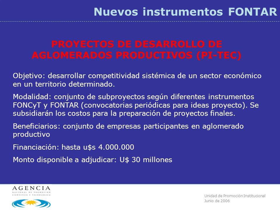 Unidad de Promoción Institucional Junio de 2006 Nuevos instrumentos FONTAR PROYECTOS DE DESARROLLO DE AGLOMERADOS PRODUCTIVOS (PI-TEC) Objetivo: desarrollar competitividad sistémica de un sector económico en un territorio determinado.