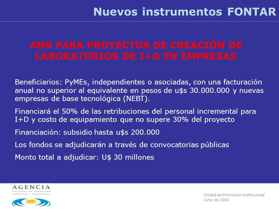 Unidad de Promoción Institucional Junio de 2006 Nuevos instrumentos FONTAR ANR PARA PROYECTOS DE CREACIÓN DE LABORATORIOS DE I+D EN EMPRESAS Beneficiarios: PyMEs, independientes o asociadas, con una facturación anual no superior al equivalente en pesos de u$s 30.000.000 y nuevas empresas de base tecnológica (NEBT).