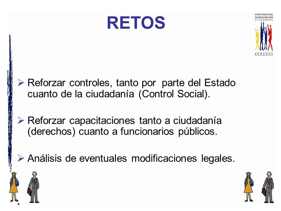 Reforzar controles, tanto por parte del Estado cuanto de la ciudadanía (Control Social).