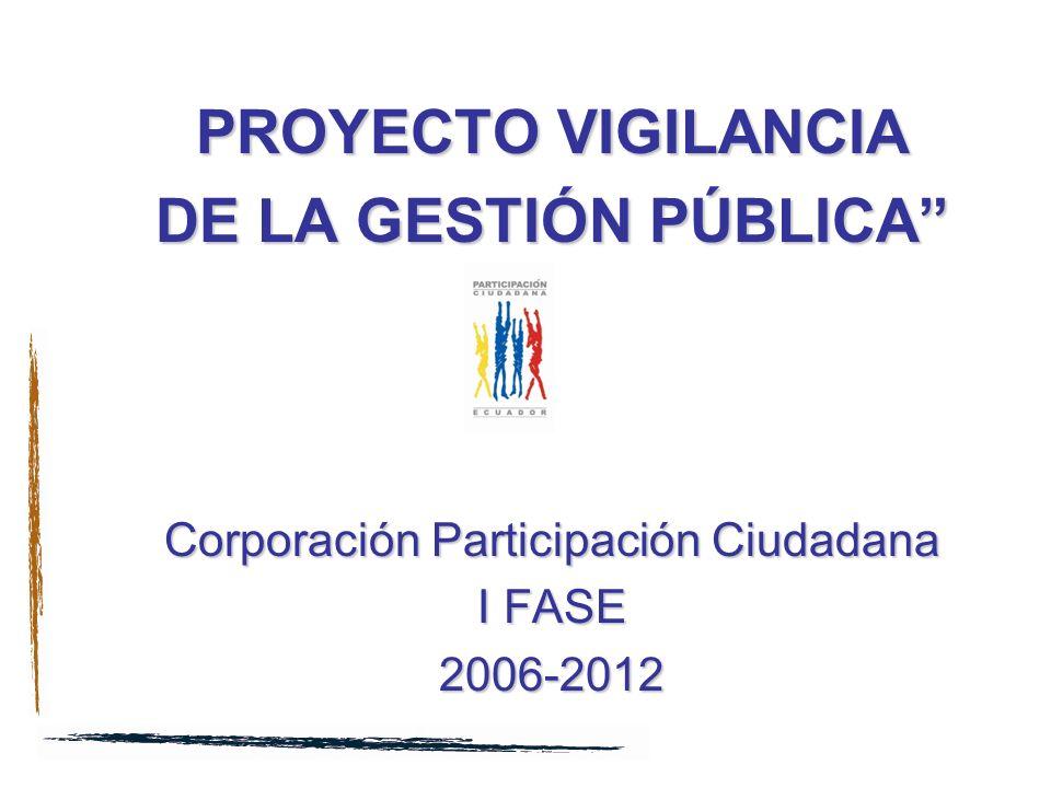 SILLA VACÍA PROYECTO VIGILANCIA DE LA GESTIÓN PÚBLICA Corporación Participación Ciudadana I FASE 2006-2012