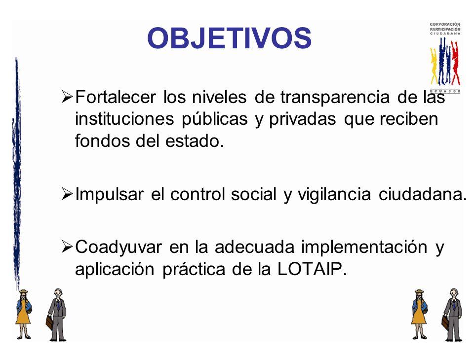 Fortalecer los niveles de transparencia de las instituciones públicas y privadas que reciben fondos del estado.