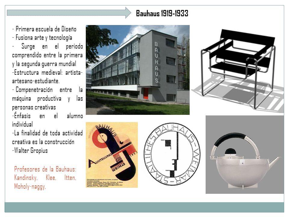 Bauhaus 1919-1933 - Primera escuela de Diseño - Fusiona arte y tecnología - Surge en el periodo comprendido entre la primera y la segunda guerra mundial -Estructura medieval: artista- artesano-estudiante.