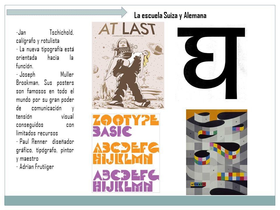 La escuela Suiza y Alemana -Jan Tschichold, calígrafo y rotulista - La nueva tipografía está orientada hacia la función.