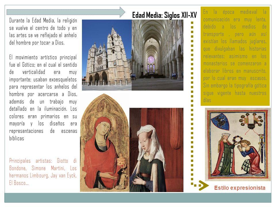 Edad Media: Siglos XII-XV Durante la Edad Media, la religión se vuelve el centro de todo y en las artes se ve reflejado el anhelo del hombre por tocar a Dios.