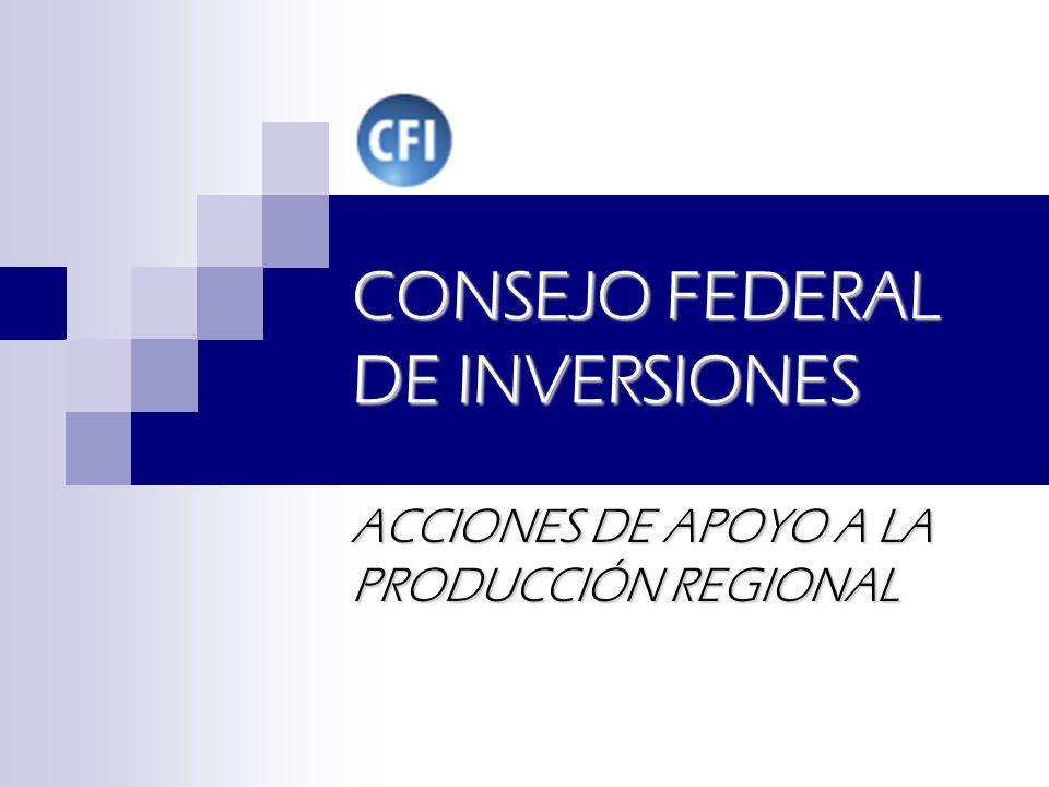 CONSEJO FEDERAL DE INVERSIONES ACCIONES DE APOYO A LA PRODUCCIÓN REGIONAL