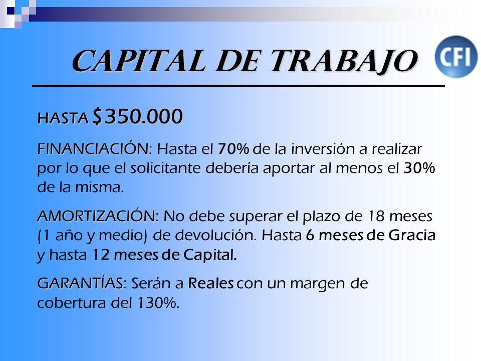 Capital de Trabajo Capital de Trabajo HASTA $350.000 FINANCIACIÓN FINANCIACIÓN: Hasta el 70% de la inversión a realizar por lo que el solicitante debería aportar al menos el 30% de la misma.