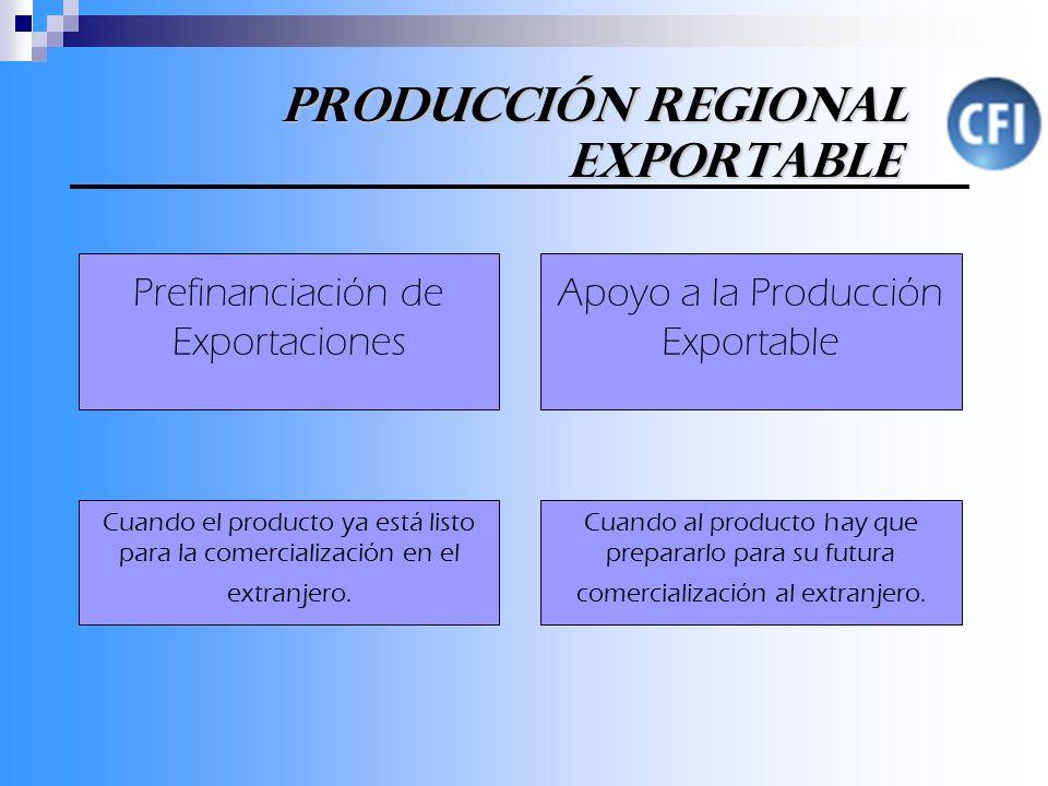 Producción Regional Exportable Producción Regional Exportable Cuando el producto ya está listo para la comercialización en el extranjero.