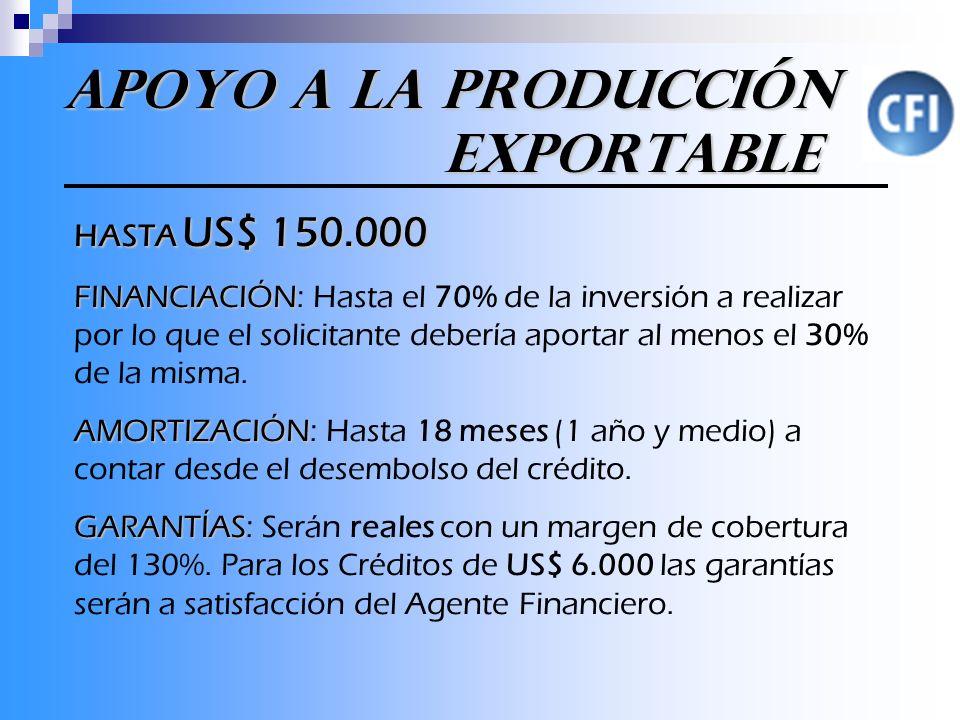 Apoyo a la Producción Exportable HASTA US$ 150.000 FINANCIACIÓN FINANCIACIÓN: Hasta el 70% de la inversión a realizar por lo que el solicitante debería aportar al menos el 30% de la misma.