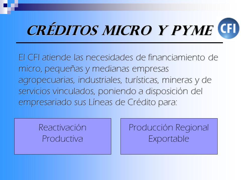 Créditos Micro y Pyme El CFI atiende las necesidades de financiamiento de micro, pequeñas y medianas empresas agropecuarias, industriales, turísticas, mineras y de servicios vinculados, poniendo a disposición del empresariado sus Líneas de Crédito para: Reactivación Productiva Producción Regional Exportable