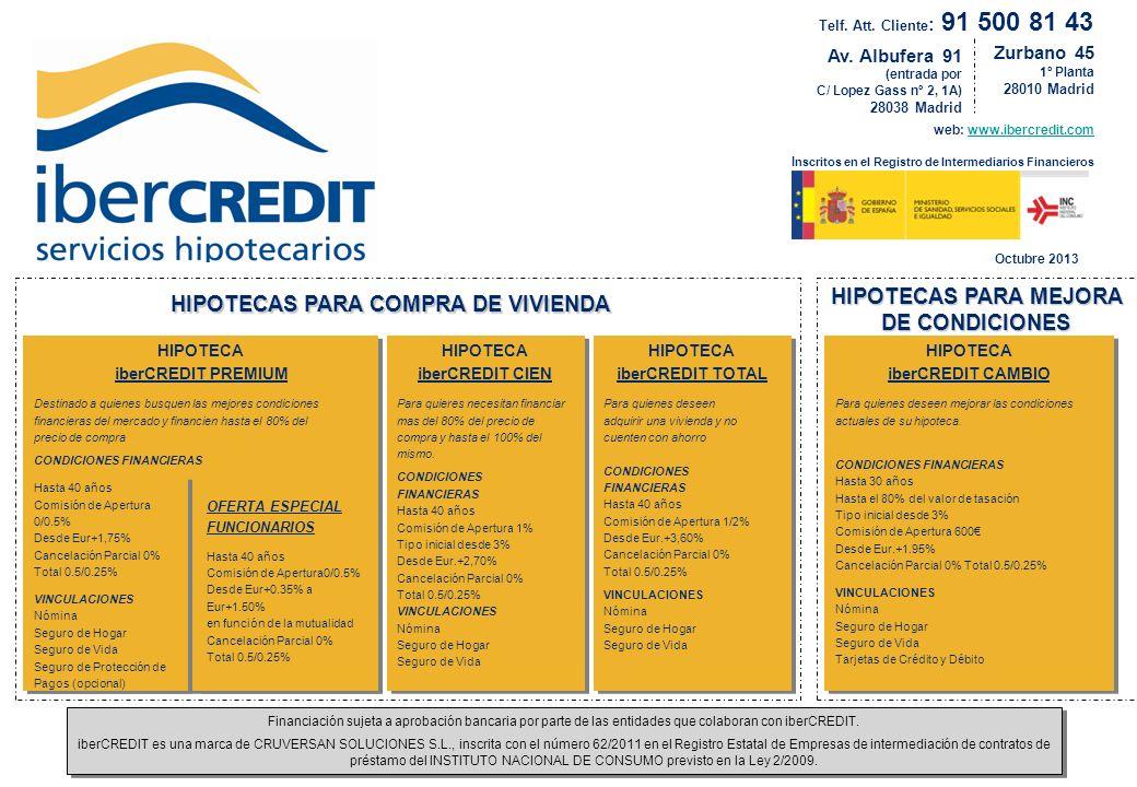 Zurbano 45 1º Planta 28010 Madrid web: www.ibercredit.com I nscritos en el Registro de Intermediarios Financieroswww.ibercredit.com HIPOTECA iberCREDI
