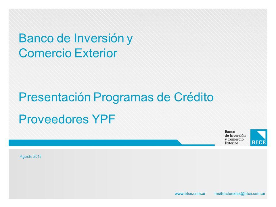Agosto 2013 www.bice.com.ar institucionales@bice.com.ar Banco de Inversión y Comercio Exterior Presentación Programas de Crédito Proveedores YPF