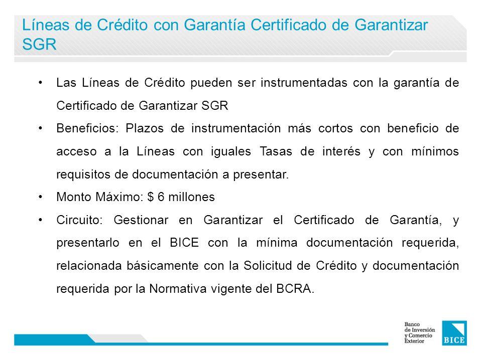 Líneas de Crédito con Garantía Certificado de Garantizar SGR Las Líneas de Crédito pueden ser instrumentadas con la garantía de Certificado de Garantizar SGR Beneficios: Plazos de instrumentación más cortos con beneficio de acceso a la Líneas con iguales Tasas de interés y con mínimos requisitos de documentación a presentar.