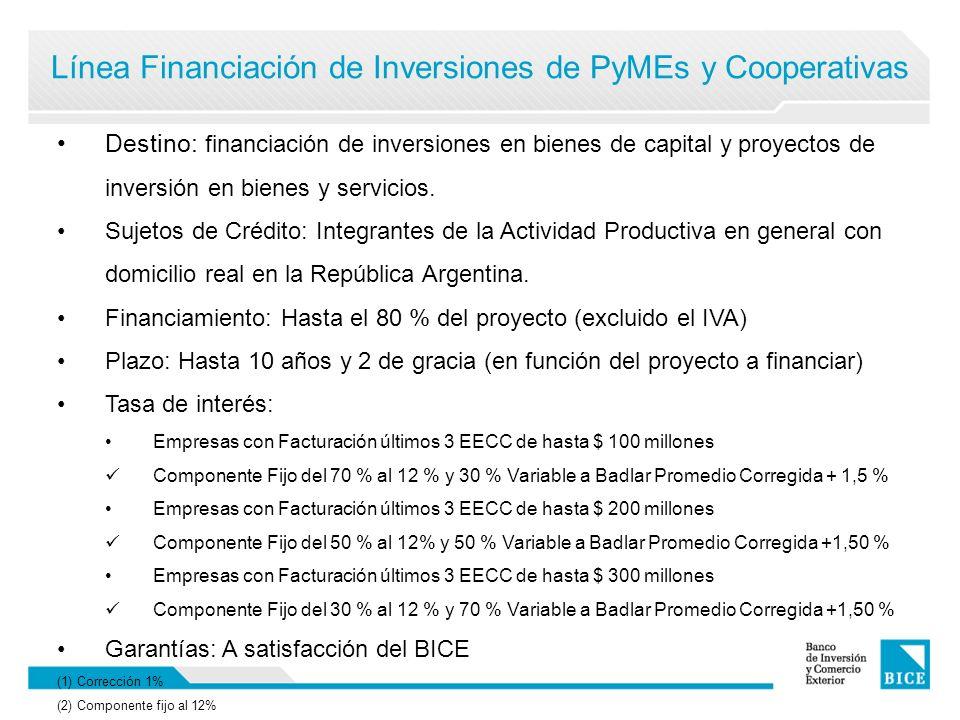 Línea Financiación de Inversiones de PyMEs y Cooperativas Destino: financiación de inversiones en bienes de capital y proyectos de inversión en bienes