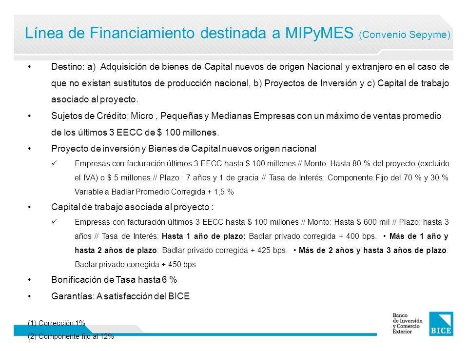 Línea de Financiamiento destinada a MIPyMES (Convenio Sepyme) Estructura de bonificación de la SEPyMEyDR: Operaciones de hasta 48 meses de plazo: 3 puntos porcentuales anuales Operaciones de entre 49 a 84 meses de plazo: 4 puntos porcentuales anuales Adicionalmente, la SEPyMEyDR bonifica un punto adicional a operaciones: Acordadas con fabricantes de bienes de capital; Con destino a la radicación en un Parque Industrial.