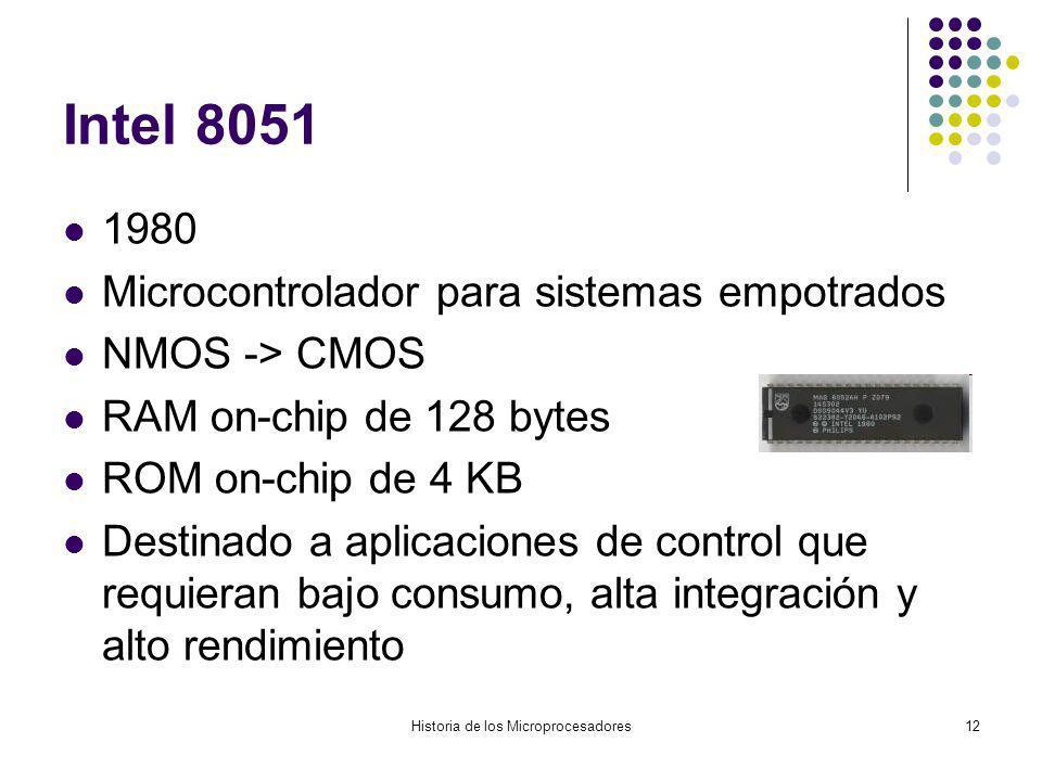 Historia de los Microprocesadores12 Intel 8051 1980 Microcontrolador para sistemas empotrados NMOS -> CMOS RAM on-chip de 128 bytes ROM on-chip de 4 K