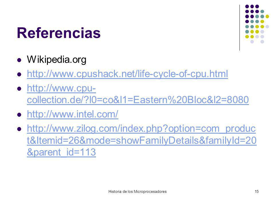 Historia de los Microprocesadores15 Referencias Wikipedia.org http://www.cpushack.net/life-cycle-of-cpu.html http://www.cpu- collection.de/?l0=co&l1=E