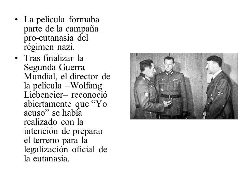 La película formaba parte de la campaña pro-eutanasia del régimen nazi. Tras finalizar la Segunda Guerra Mundial, el director de la película –Wolfang