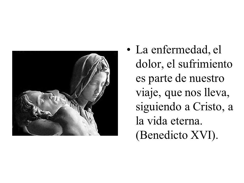La enfermedad, el dolor, el sufrimiento es parte de nuestro viaje, que nos lleva, siguiendo a Cristo, a la vida eterna. (Benedicto XVI).