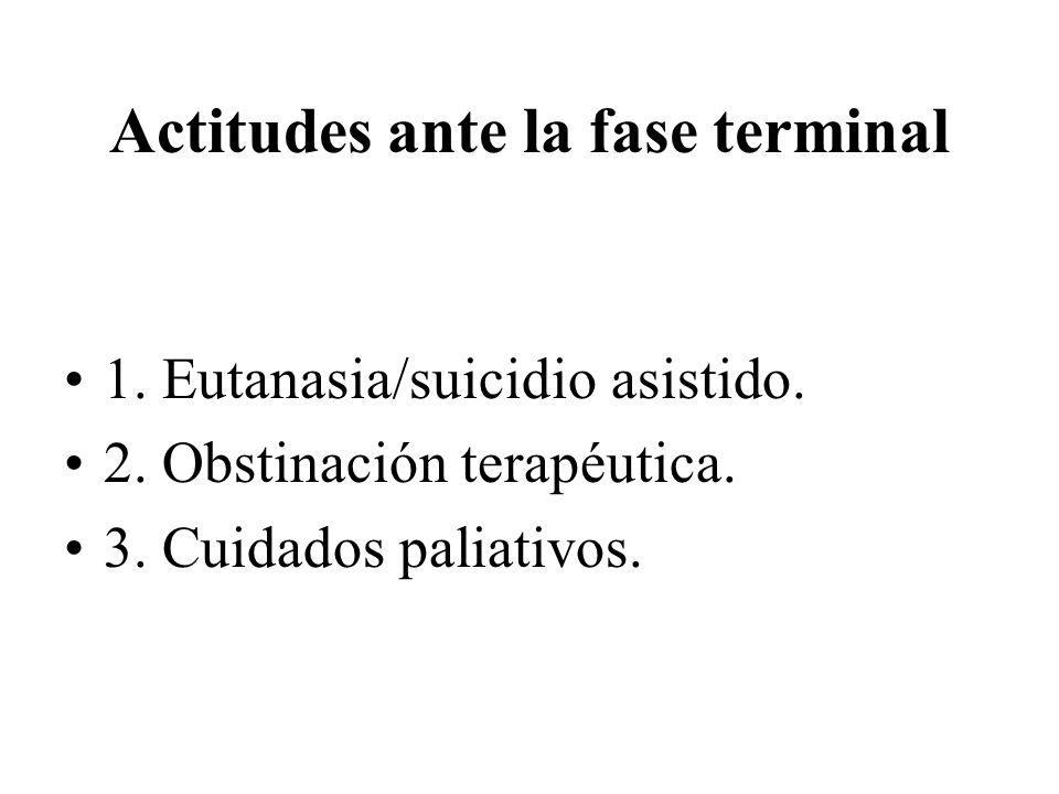 Actitudes ante la fase terminal 1. Eutanasia/suicidio asistido. 2. Obstinación terapéutica. 3. Cuidados paliativos.