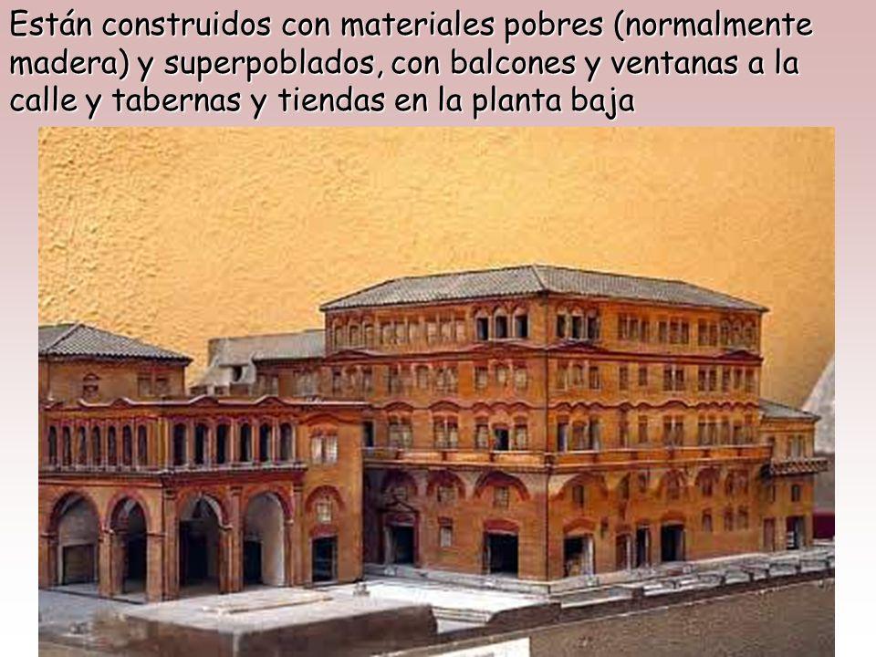 Frente a la domus patricia y a los palacios imperiales, el resto de la población vive en régimen de alquiler apiñados en bloques de apartamentos de va