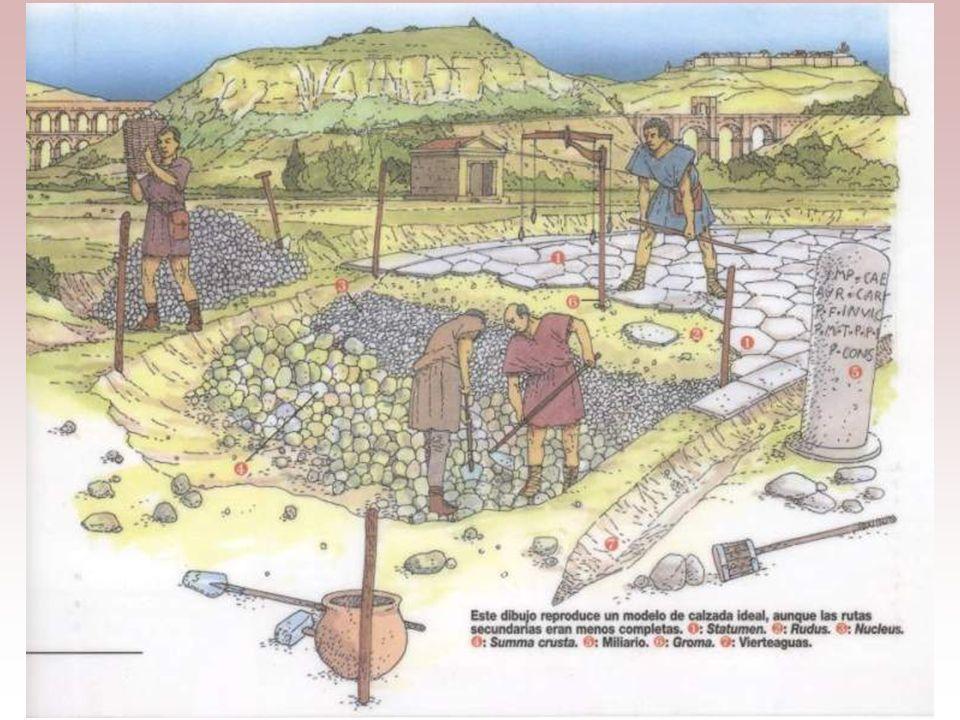 Varias capas de cimentación aseguraban el asiento de las losas de piedra que constituían el pavimento. A los lados de la vía y en todo el recorrido se