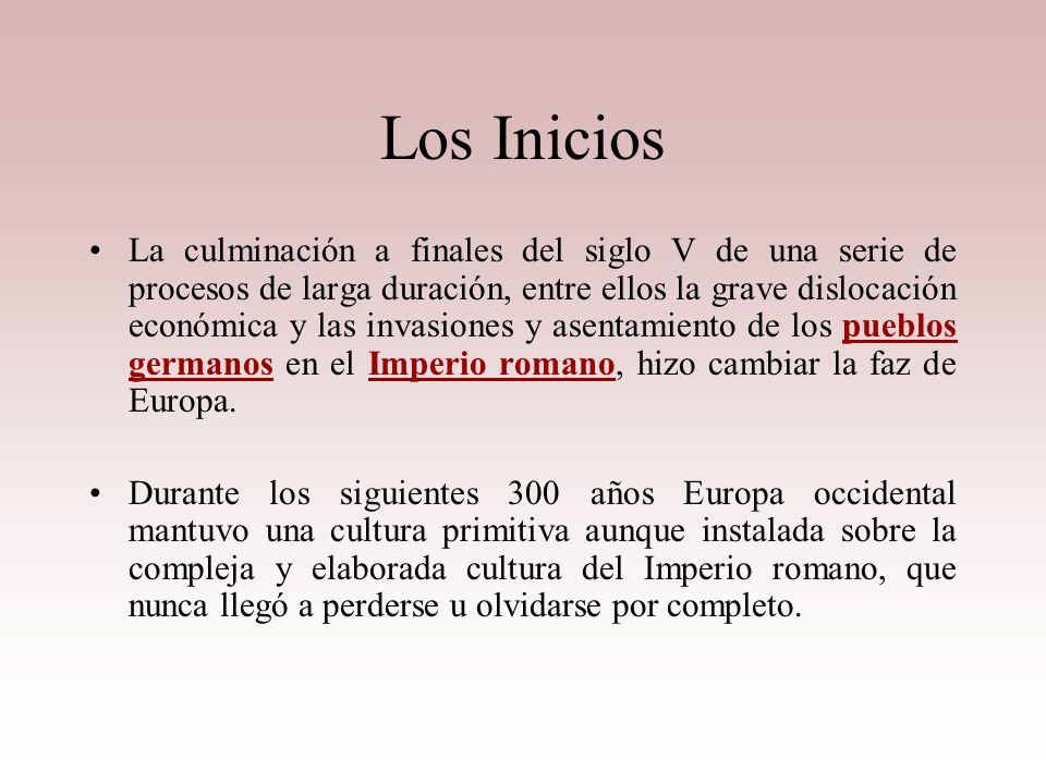CONCEPTO Período de la historia europea que transcurrió desde la desintegración del Imperio romano de Occidente, en el siglo V, hasta el siglo XV. La