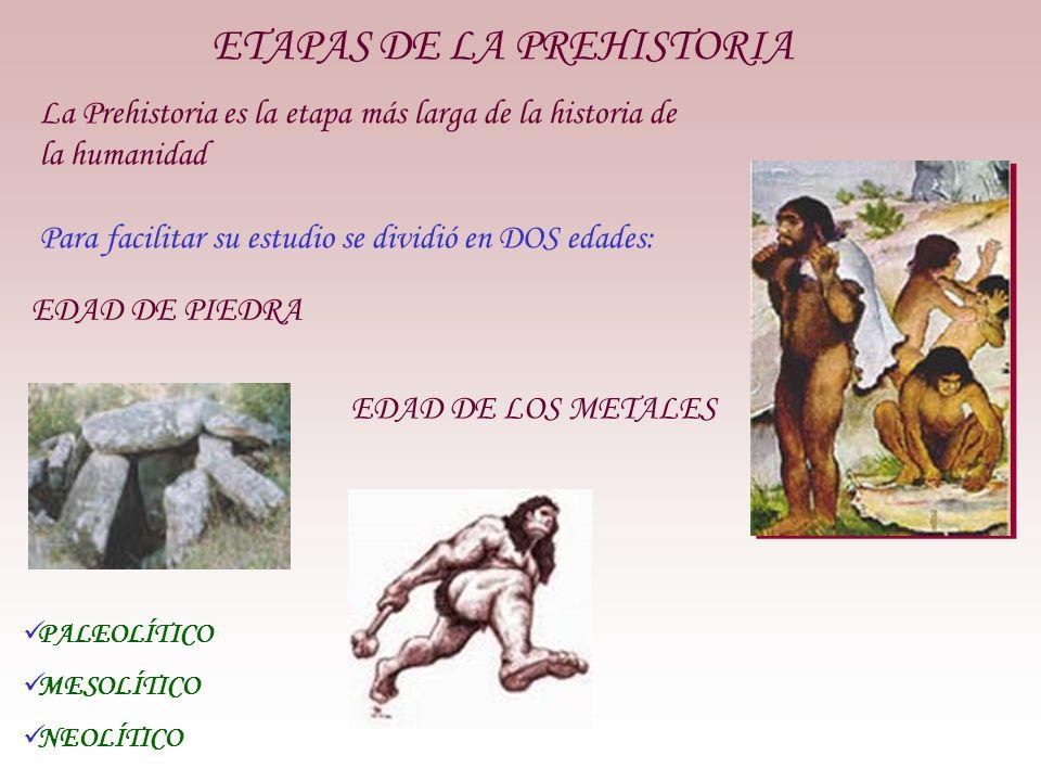 La Prehistoria es la etapa más larga de la historia de la humanidad Para facilitar su estudio se dividió en DOS edades: EDAD DE LOS METALES ETAPAS DE LA PREHISTORIA EDAD DE PIEDRA PALEOLÍTICO MESOLÍTICO NEOLÍTICO