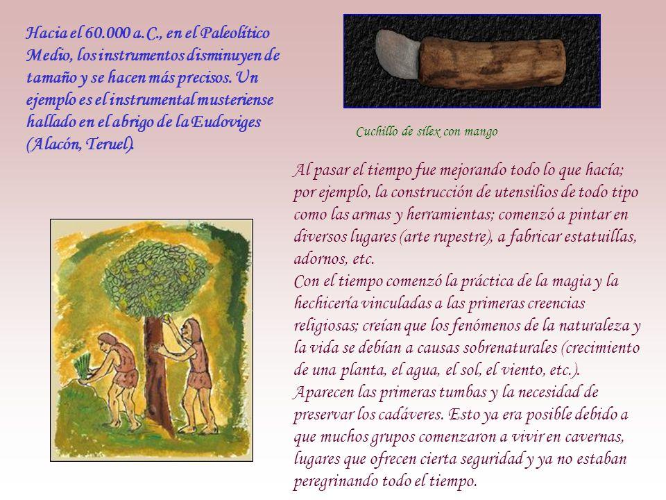 Hacia el 60.000 a.C., en el Paleolítico Medio, los instrumentos disminuyen de tamaño y se hacen más precisos.