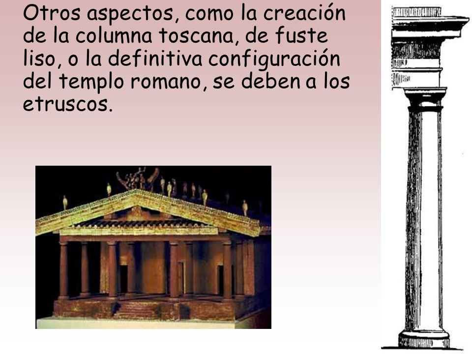 Los etruscos aportarán también en arquitectura el empleo del arco, que, si bien parece ser que habían importado de las viejas culturas mesopotámicas,