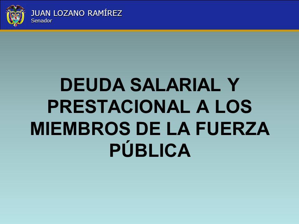 Nombre la Entidad República de Colombia JUAN LOZANO RAMÍREZ Senador Los Agentes de los Cuerpos Profesionales de la Policía Nacional en servicio activo, tienen derecho a percibir mensualmente una prima de actualización en los porcentajes que se indican a continuación, liquidada sobre la asignación básica, según la antigüedad en el grado así: