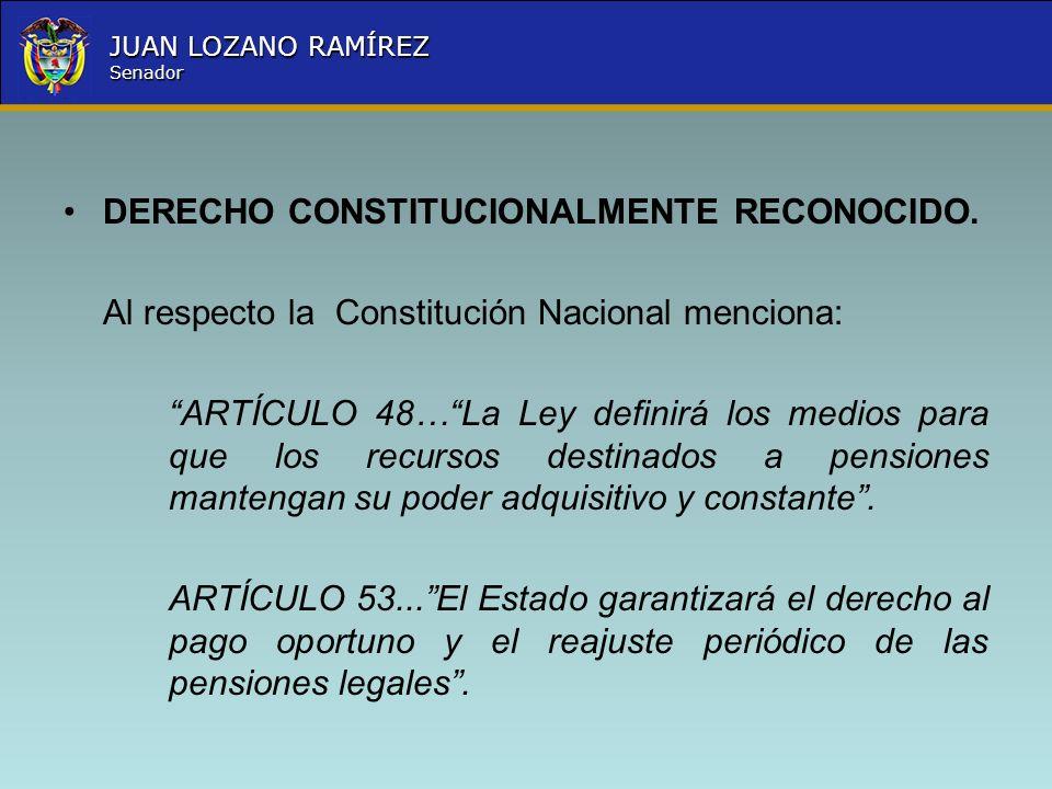 Nombre la Entidad República de Colombia JUAN LOZANO RAMÍREZ Senador DERECHO CONSTITUCIONALMENTE RECONOCIDO. Al respecto la Constitución Nacional menci