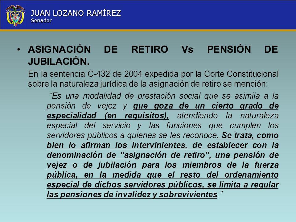 Nombre la Entidad República de Colombia JUAN LOZANO RAMÍREZ Senador ASIGNACIÓN DE RETIRO Vs PENSIÓN DE JUBILACIÓN. En la sentencia C-432 de 2004 exped