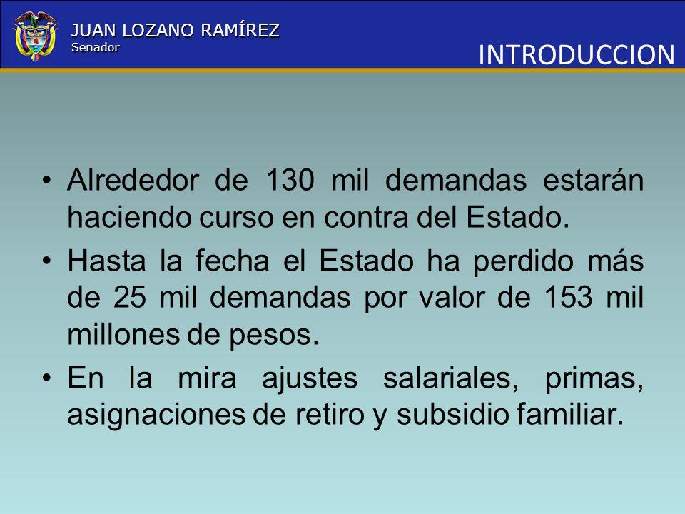 Nombre la Entidad República de Colombia JUAN LOZANO RAMÍREZ Senador INTRODUCCION Alrededor de 130 mil demandas estarán haciendo curso en contra del Es