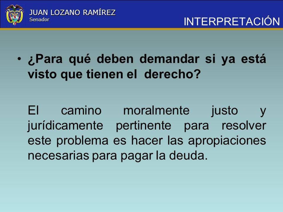 Nombre la Entidad República de Colombia JUAN LOZANO RAMÍREZ Senador ¿Para qué deben demandar si ya está visto que tienen el derecho? El camino moralme