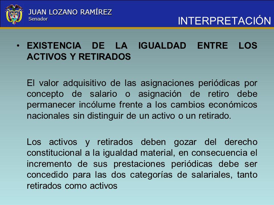 Nombre la Entidad República de Colombia JUAN LOZANO RAMÍREZ Senador INTERPRETACIÓN EXISTENCIA DE LA IGUALDAD ENTRE LOS ACTIVOS Y RETIRADOS El valor ad