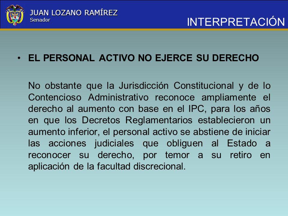 Nombre la Entidad República de Colombia JUAN LOZANO RAMÍREZ Senador INTERPRETACIÓN EL PERSONAL ACTIVO NO EJERCE SU DERECHO No obstante que la Jurisdic