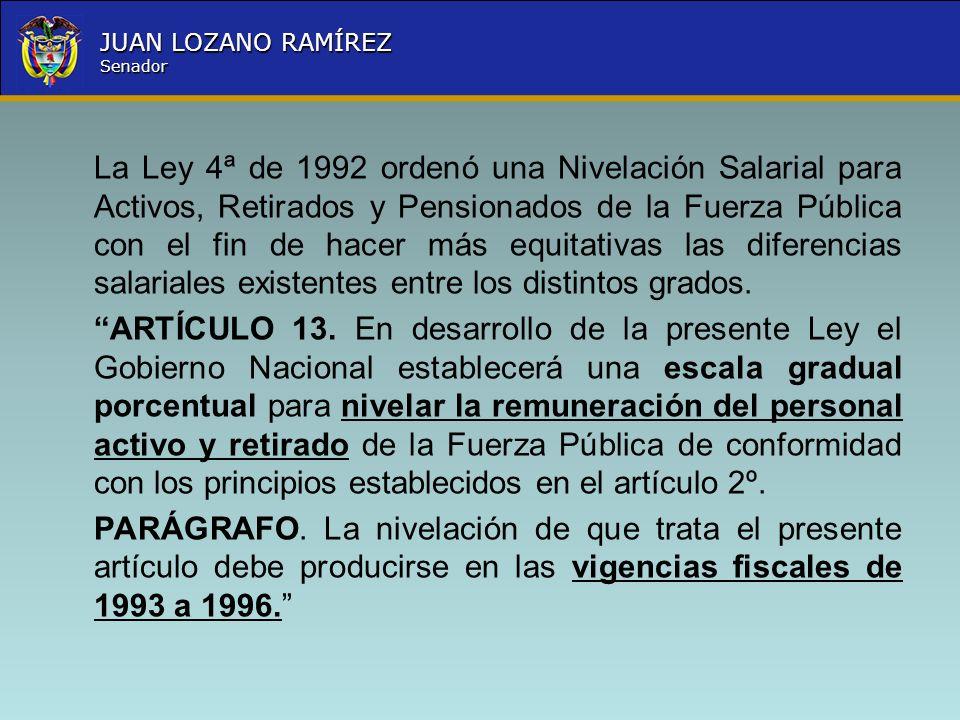 Nombre la Entidad República de Colombia JUAN LOZANO RAMÍREZ Senador La Ley 4ª de 1992 ordenó una Nivelación Salarial para Activos, Retirados y Pension