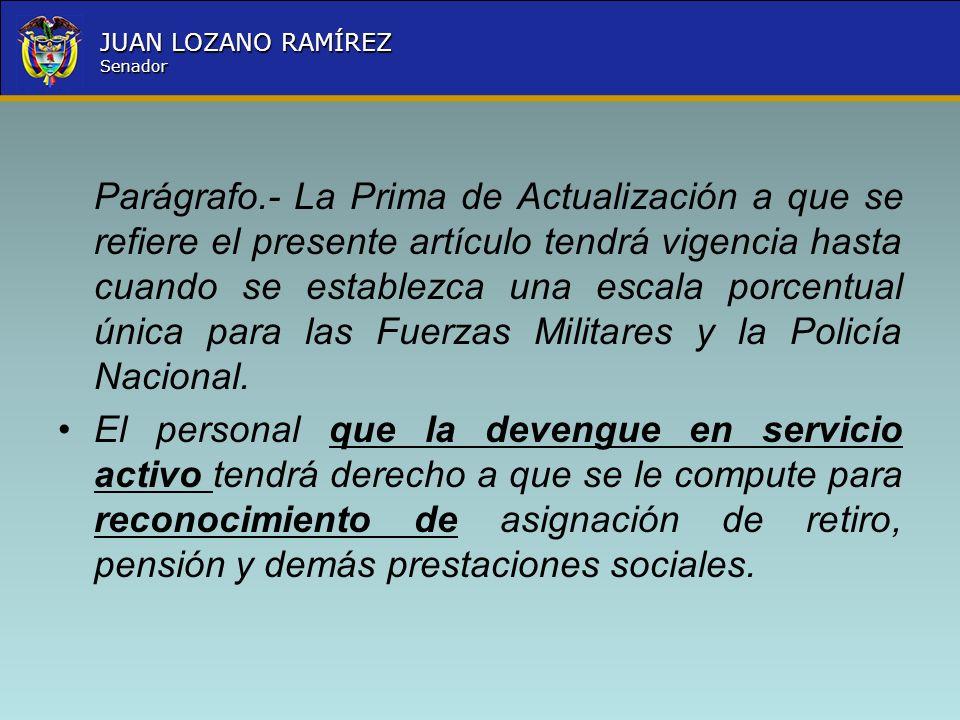 Nombre la Entidad República de Colombia JUAN LOZANO RAMÍREZ Senador Parágrafo.- La Prima de Actualización a que se refiere el presente artículo tendrá