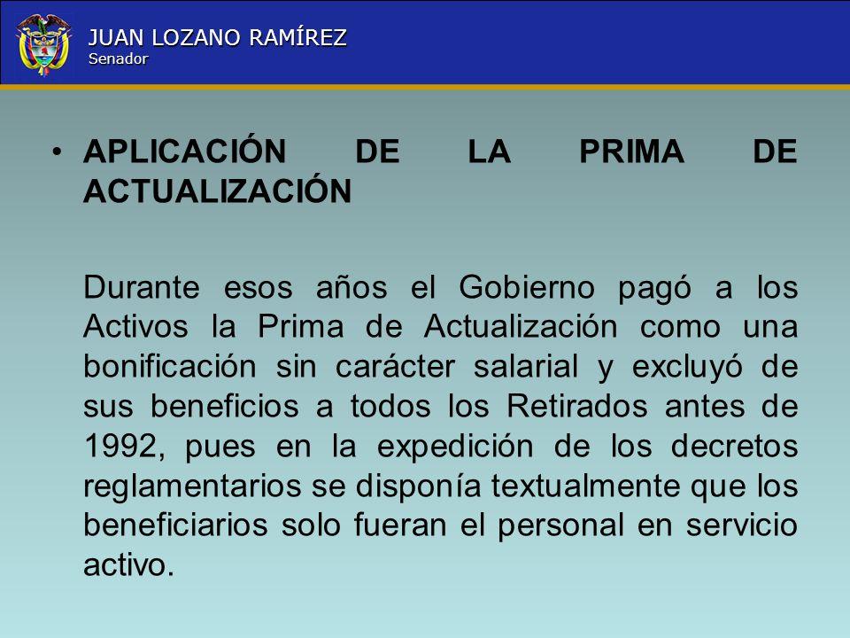 Nombre la Entidad República de Colombia JUAN LOZANO RAMÍREZ Senador APLICACIÓN DE LA PRIMA DE ACTUALIZACIÓN Durante esos años el Gobierno pagó a los A